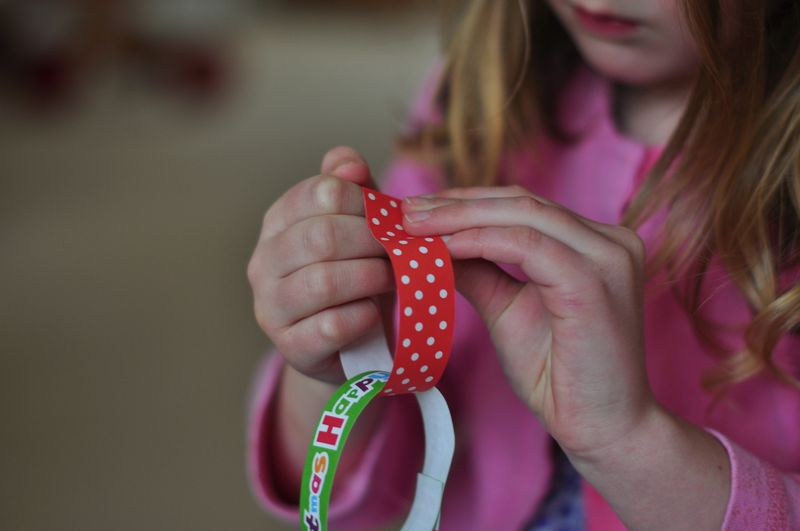 Printed paper chains gummed strips