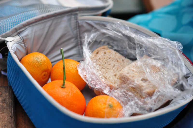 Sandwiches and oranges
