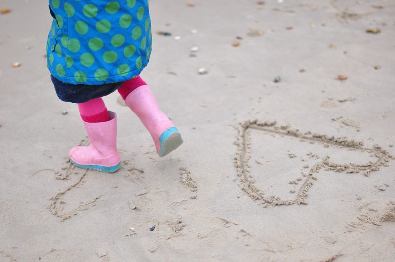 Valentine's Day heart drawn in the sand