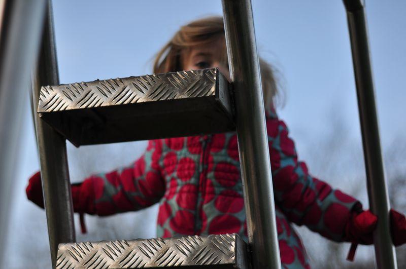 Climbing the slide