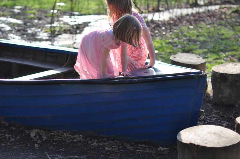 Miss K and Little L in the boat